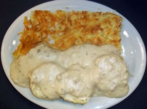 Biscuits and Gravy with Hash Browns
